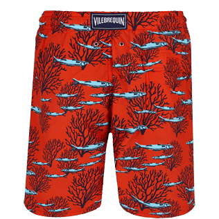 Men Long classic Printed - Men Swimwear Long Coral & Fish, Medicis red back