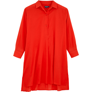 Women Dresses Solid - Solid dress shirt, Poppy red front