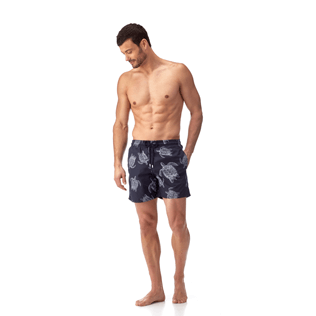 Men Classic / Moorea Printed - Galuchat Turtle Swim shorts, Navy frontworn