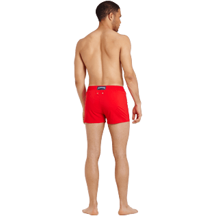 Men Short classic Solid - Men Swimwear Short and Fitted Stretch Solid, Medicis red backworn