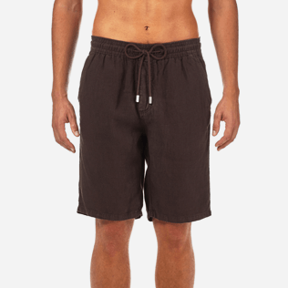 Men Others Solid - Men Italian Pockets Linen Bermuda Shorts Solid, Chocolate supp1