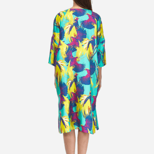 Women Others Printed - Women Long Twill Silk Tunic Dress Birds of Paradise, Veronese green supp2
