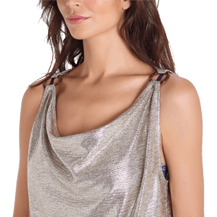 Mujer Autros Liso - Women Lurex mesh Tank Top Solid, Oro supp1