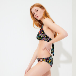 Women Classic brief Printed - Women Bikini Bottom Asymmetrical Evening Birds, Black frontworn
