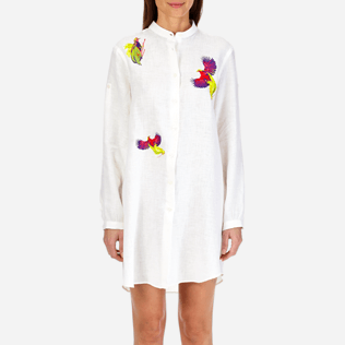 Women Others Embroidered - Women Stand-up collar Linen Shirt Embroidered Birds of Paradise, White supp1