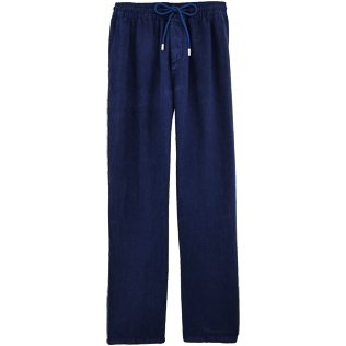 Men Pants Solid - Men Linen Pants Solid, Navy front