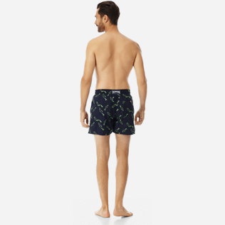 Men Embroidered Embroidered - Men Swimtrunks Embroidered Fish Dance - Limited Edition, Navy backworn