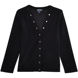 Women 009 Solid - Women Terry Cloth Cardigan Sweaters Solid, Black front
