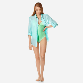 Women One piece Solid - Women triangle one piece swimsuit Ecailles de tortues, Aloe supp2