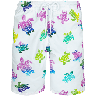 Men Long classic Printed - Men Swim Trunks Long Ronde des Tortues Aquarelle, White front
