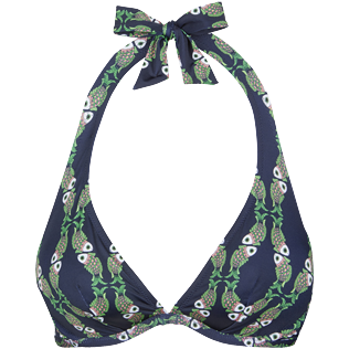 Women Underwire Printed - Women Bikini Halter Top Sweet Fishes, Navy front