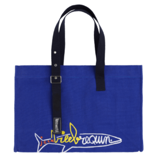 Others Embroidered - Beach bag Vilebrequin squale embroidered - Vilebrequin x JCC+ - Limited Edition, Sea blue front