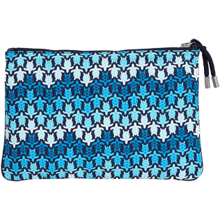 Others Printed - Zipped Beach Pouch Herringbones Turtles, Navy back