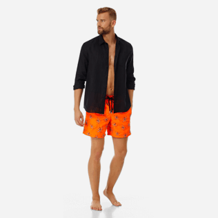 Men Embroidered Embroidered - Men Ultra-Light and packable embroidered Swimwear Palm Beach - Limited Edition, Neon orange supp2