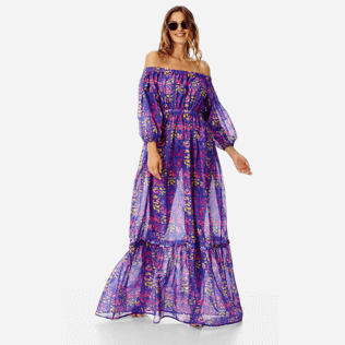 Women Others Printed - Women Off-the-shoulder cotton long Dress Phuket, Sea blue supp2