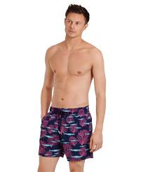 Men Classic Printed - Men Swim Trunks Coral & Fish, Navy frontworn