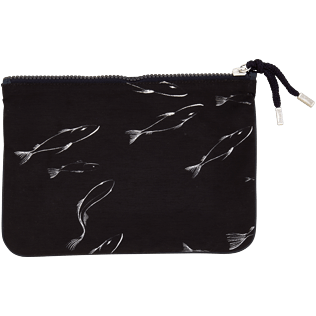 Bags Printed - Zipped Cotton Beach pouch Fish Dance, Black back