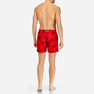 Men Embroidered Embroidered - Men Swimtrunks Embroidered Starlettes - Limited Edition, Poppy red backworn
