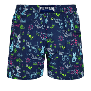Men Classic Printed - Men Swimwear Rabbits and Poodles - Florence Broadhurst, Navy back
