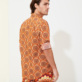 Others Printed - Unisex Cotton Voile Summer Shirt 1975 Rosaces, Apricot backworn