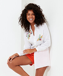 Women Others Embroidered - Women Linen Shirt Dress Go Bananas embroidery, White frontworn