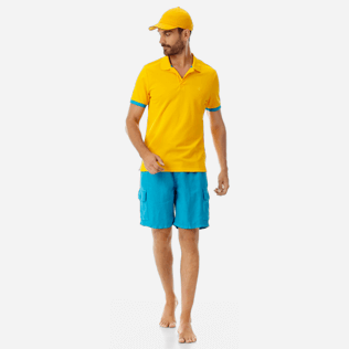 Men Others Solid - Men Cotton Pique Polo Shirt Solid, Mango supp2