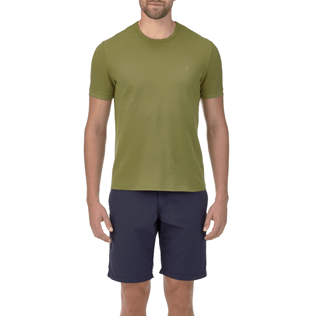 Men Tee-Shirts Solid - Solid Round neck cotton pique Tee-Shirt, Khaki supp2