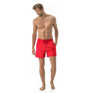 Men Classic Solid - Men Swimwear Solid, Poppy red frontworn