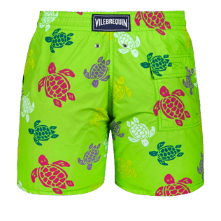Men Classic Printed - Men swimtrunks Tortues Multicolores, Grass green back