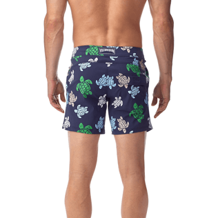 Men Fitted Printed - Multicolor Turtles Fitted cut Swim shorts, Navy supp3