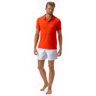 Men Polos Solid - Cotton pique polo, Poppy red supp1