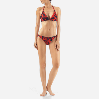 Women Tops Printed - Silex Fishes Triangle shape bikini top, Poppy red frontworn