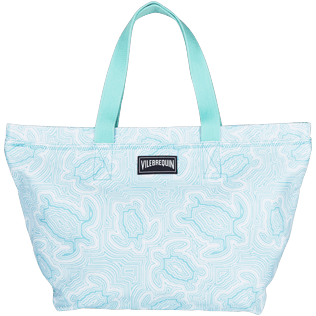 Bags Printed - Large Cotton Beach bag Hypnotic Turtles, Lagoon front