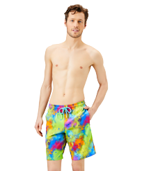 Men Long classic Printed - Men Long Swim Trunks Holi Party, Batik blue frontworn