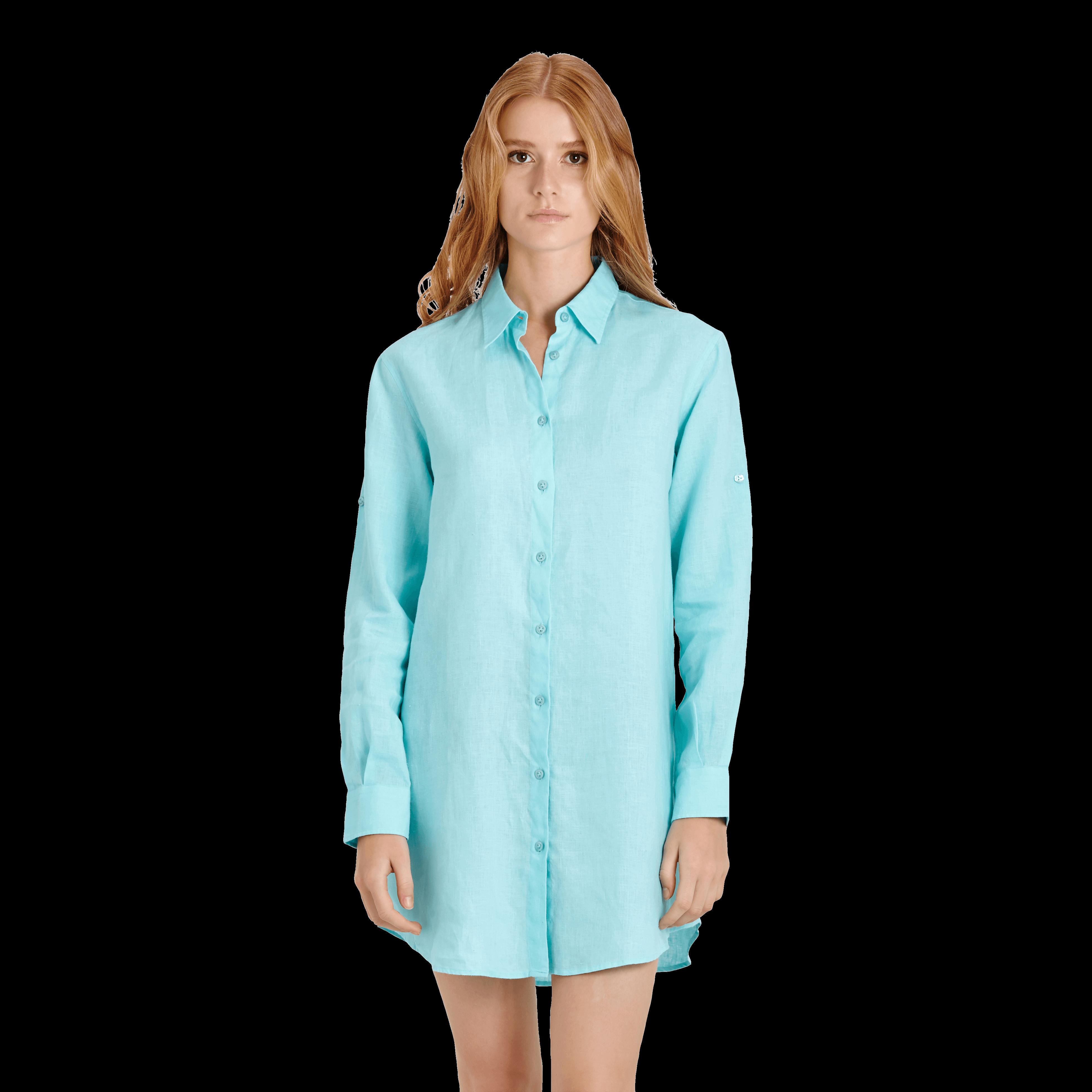 Vilebrequin Women Long Linen Shirt Solid In Blue