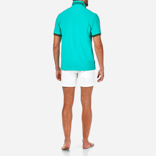 Men Polos Solid - Solid Cotton pique polo, Veronese green supp4