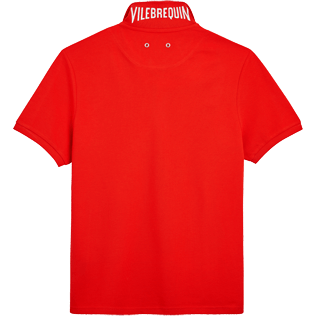 Men Polos Solid - Cotton pique polo, Poppy red back