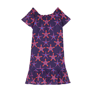 Girls Others Printed - Girls Cotton Voile Dress Starfish Dance, Sapphire front