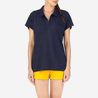 Women Polos Solid - Solid Linen Jersey Polo, Navy supp1