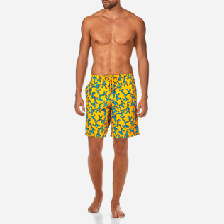 Men Long classic Printed - Danse du Feu Long Cut Swim shorts, Turmeric frontworn