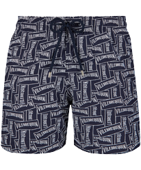 Men 017 Embroidered - Men Embroidered Swimwear Vilebrequin Labels - Limited Edition, Navy front