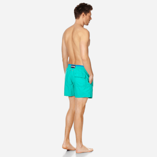 Men Classic Solid - Men Swimwear Solid Bicolor, Veronese green backworn