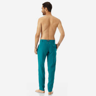 Men Others Solid - Men straight Linen Pants Solid, Pine wood backworn