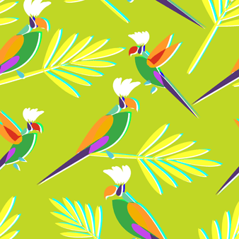 男士 Multicolore Parrots 泳裤, Lemongrass pattern