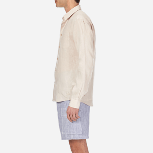 Men Others Solid - Men Linen Shirt Solid, Chalk supp3