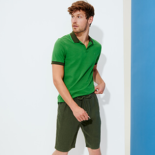 Men Others Solid - Men Linen Bermuda Shorts Solid, Pepper supp1