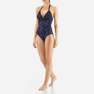 Women One Piece Printed - Camouflage Turtles One piece, Plum frontworn
