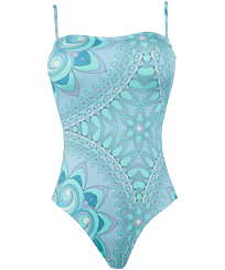 Women One piece Printed - Women Bustier One-piece Swimsuit Mandala, Lagoon front