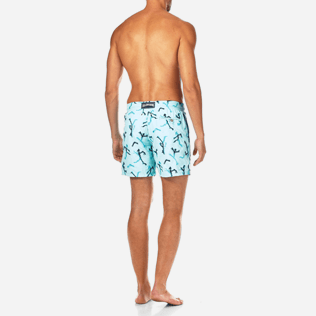 Men Embroidered Embroidered - Danse du Feu All Over Embroidered Swim shorts, Lagoon backworn