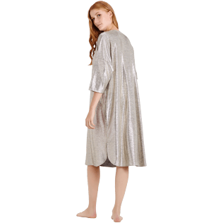 Mujer Autros Liso - Women Lurex mesh Beach Cover-up Solid, Oro backworn